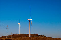 image of two wind turbines in China